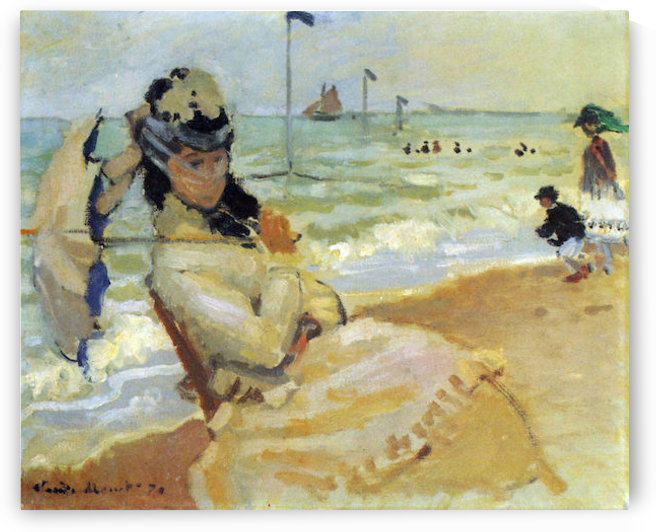 Camille on the beach at Trouville by Monet by Monet