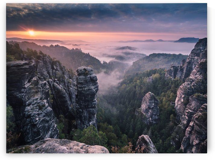 Sunrise on the Rocks of the Saxon Switzerland by Andreas Wonisch
