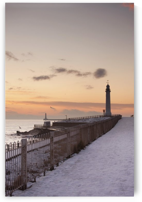Sunderland, Tyne And Wear, England; A Lighthouse Along The Coast In Winter by PacificStock