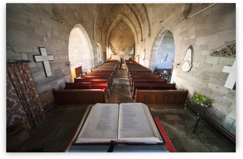 Northumberland, England; An Open Bible At The Back Of A Church by PacificStock