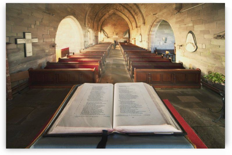Durham, England; An Open Bible At The Back Of A Church by PacificStock