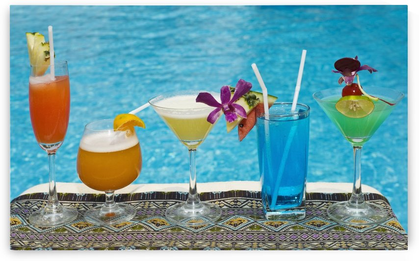 Chiang Mai, Thailand; Tropical Drinks By The Pool At Horizon Resort by PacificStock