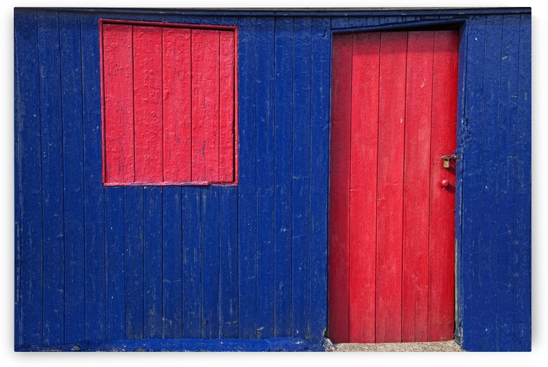 St. Abb's Head, Scottish Borders, Scotland; A Red Door And Window On A Blue Wooden Building by PacificStock