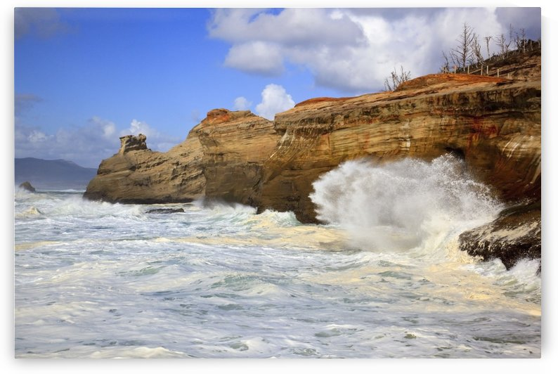 Pacific City, Oregon, United States Of America; Waves Crashing Along The Coast At Cape Kiwanda by PacificStock