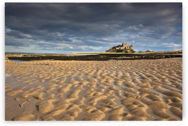 Bamburgh, Northumberland, England; View Of Bamburgh Castle From A Sandy Beach by PacificStock