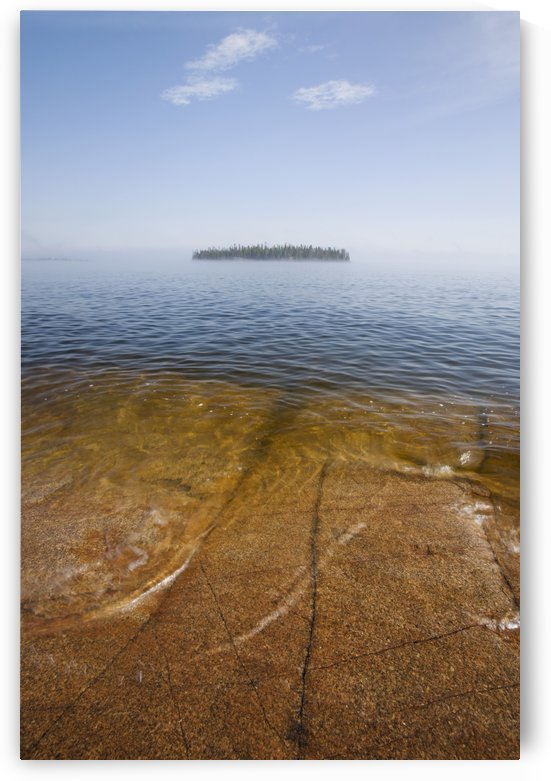 Ontario, Canada; An Island And A Large Rock Slab Under The Water's Surface On Lake Superior by PacificStock