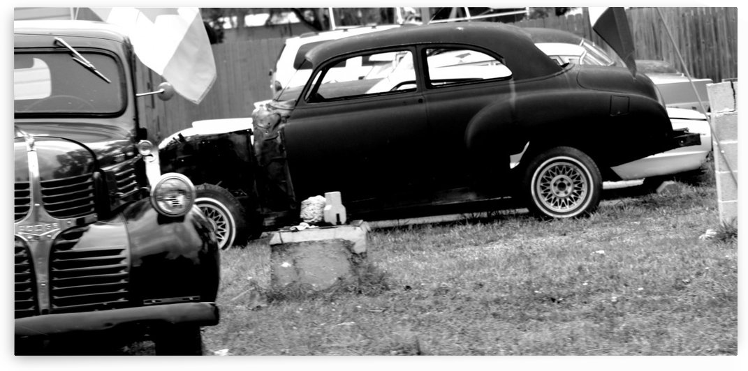 Black and White Vintage Cars by Cameron Young