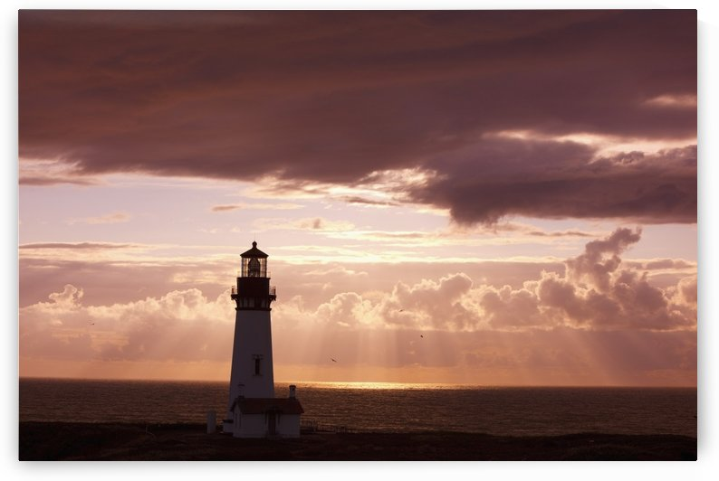 Oregon, United States Of America; Sunset Over Yaquina Head Lighthouse On The Oregon Coast by PacificStock