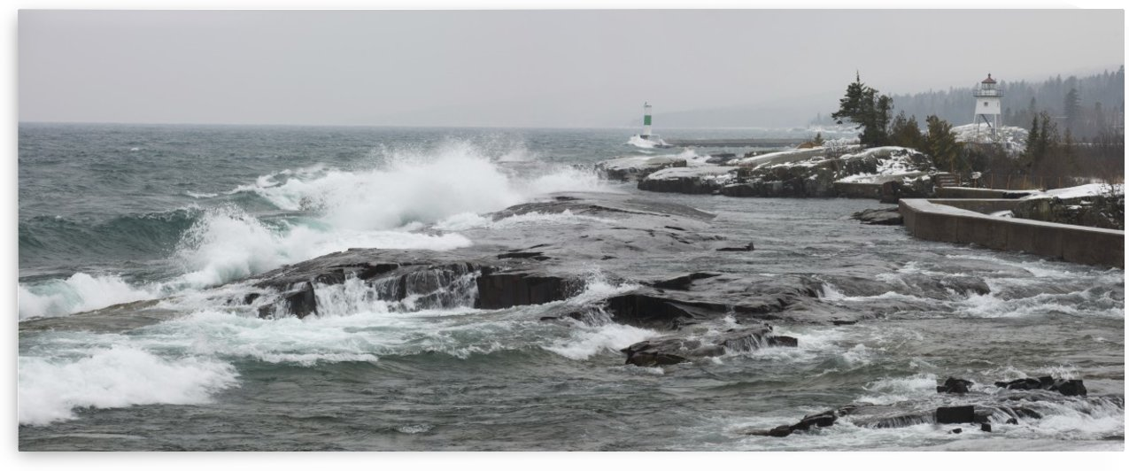 Grand Marais, Minnesota, United States Of America; Large Waves By The Shore In Lake Superior In Winter by PacificStock