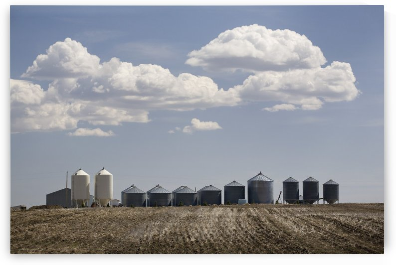 Calgary, Alberta, Canada; A Row Of Grain Bins In A Tilled Field by PacificStock