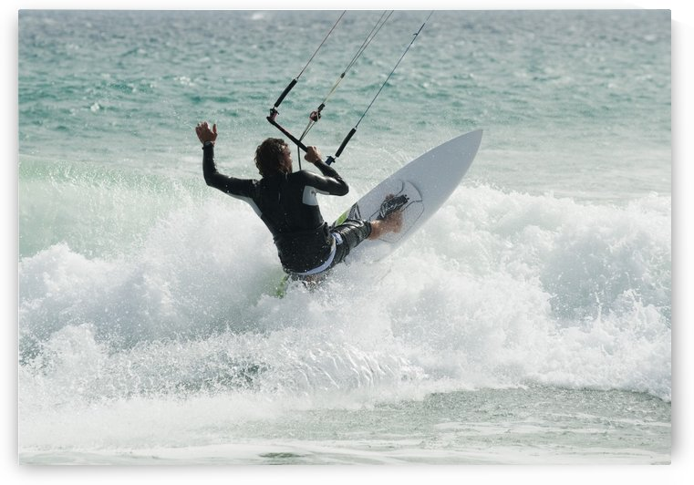A Man Kitesurfing At Punta Paloma Beach; Tarifa, Cadiz, Andalusia, Spain by PacificStock