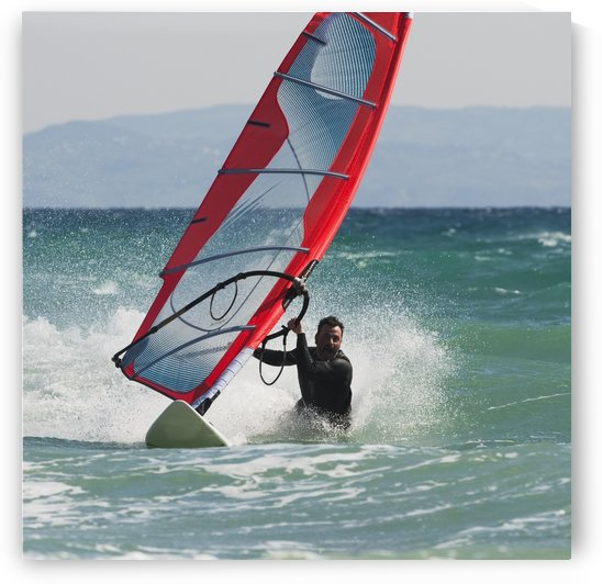 A Man Windsurfing; Tarifa, Cadiz, Andalusia, Spain by PacificStock