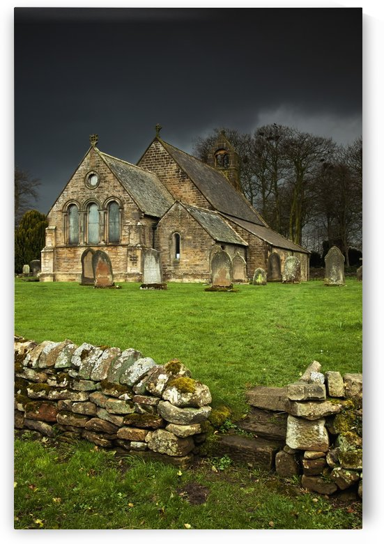 An Old Church Under A Dark Sky; Northumberland, England by PacificStock