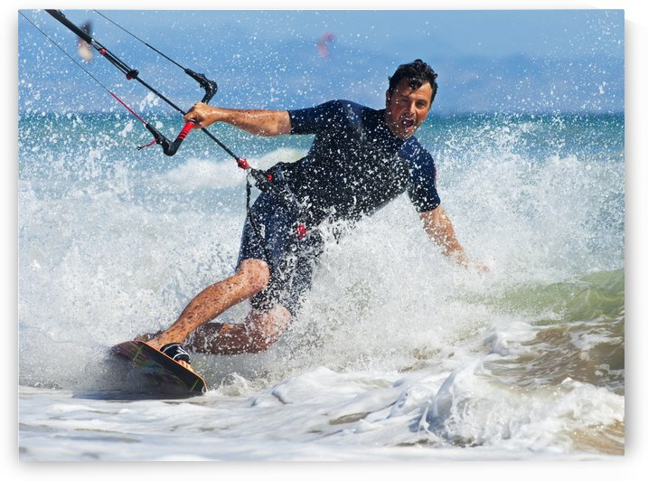 Kite Surfing In Front Of Hotel Dos Mares; Tarifa, Cadiz, Andalusia, Spain by PacificStock