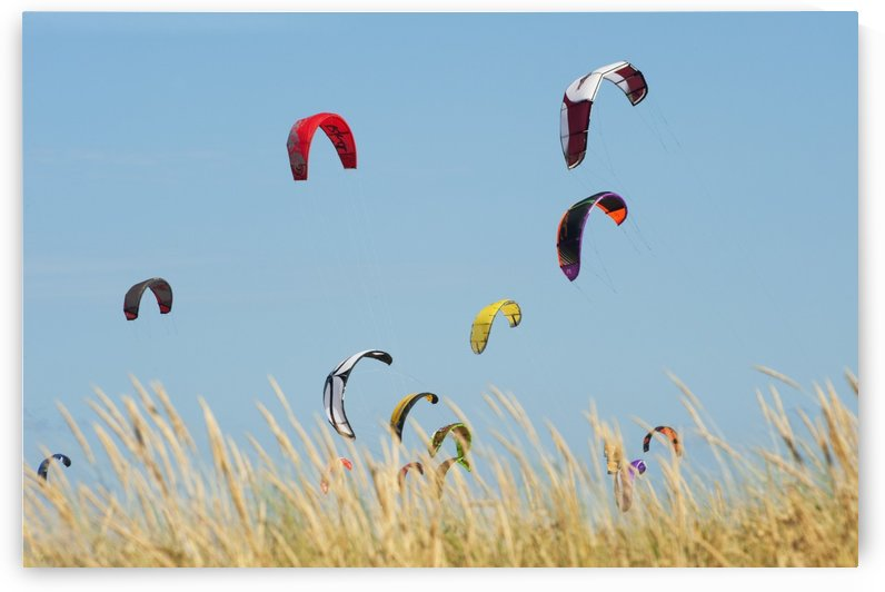 Kites Of Kite Surfers In Front Of Hotel Dos Mares; Tarifa, Cadiz, Andalusia, Spain by PacificStock