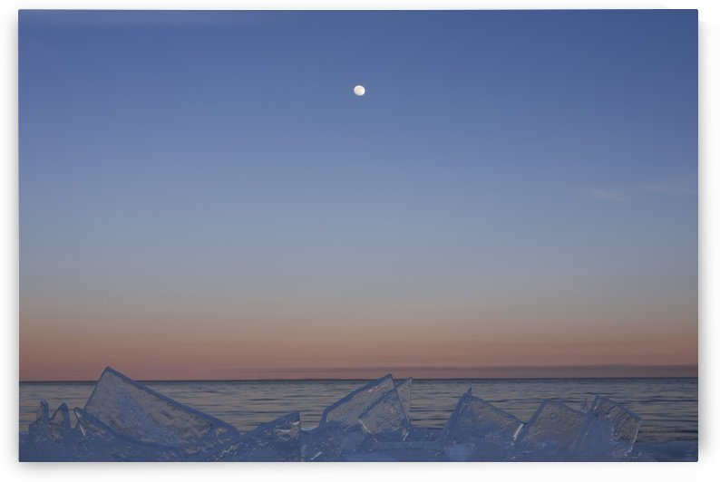 Full Moon At Dusk With Ice On Lake Superior; Grand Portage, Minnesota, United States Of America by PacificStock