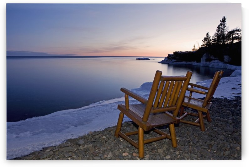 Two Chairs At Water's Edge Looking Out Over Lake Superior; Grand Portage, Minnesota, United States Of America by PacificStock