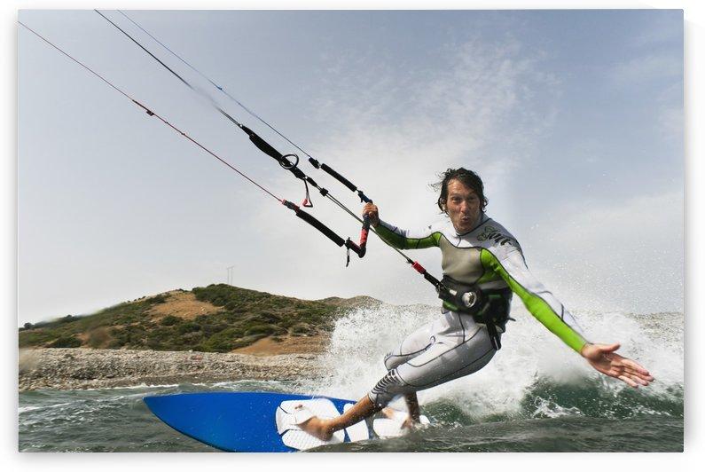 A Man Kite Surfing Off The Coast Of Parque Natural Del Estrecho; Tarifa, Cadiz, Andalusia, Spain by PacificStock