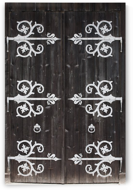 Large Metal Decorative Hinges On A Weathered Wooden Barn Door; Fussen, Germany by PacificStock