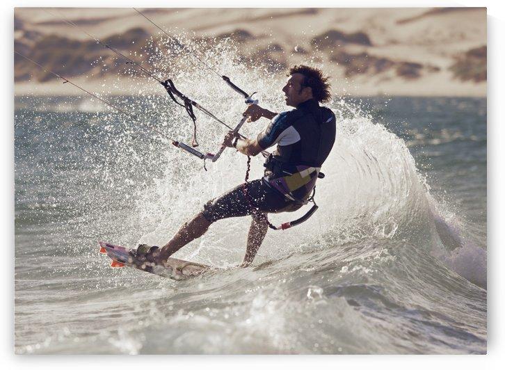 A Man Kitesurfing; Tarifa, Cadiz, Andalusia, Spain by PacificStock