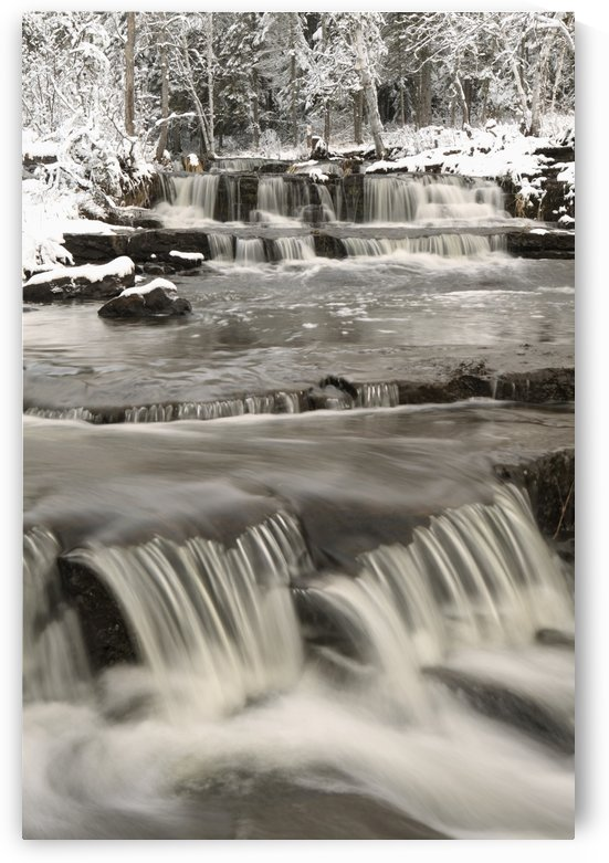 Waterfalls With Fresh Snow; Thunder Bay, Ontario, Canada by PacificStock