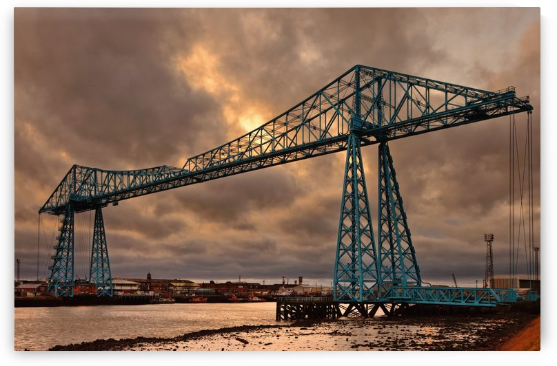 Tees Transporter Bridge At Sunset; Middlesbrough, Teesside, England by PacificStock