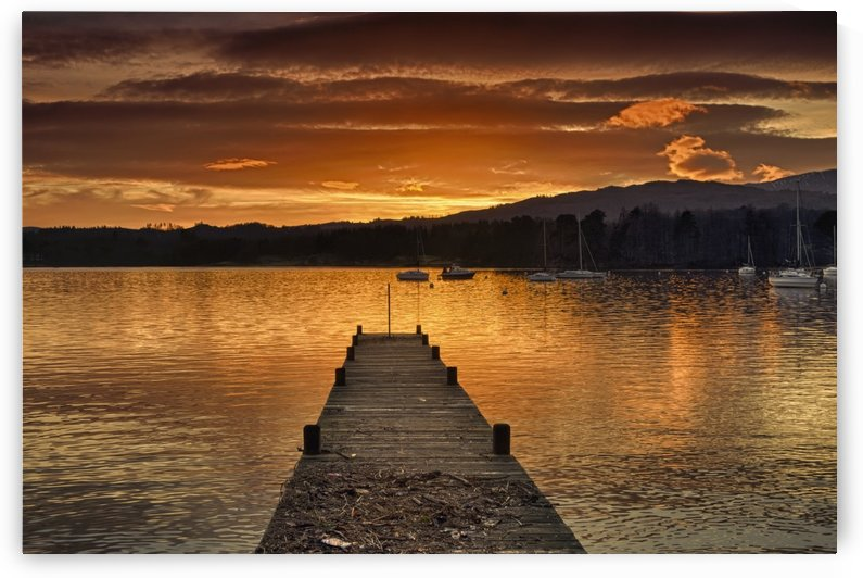 Dock On Lake Windermere At Sunset; Ambleside, Cumbria, England by PacificStock