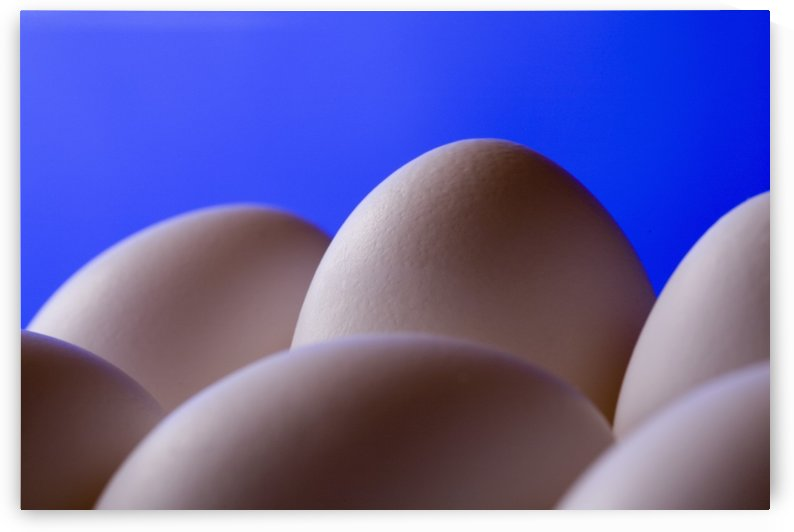Close-Up Eggs Against Blue Background by PacificStock