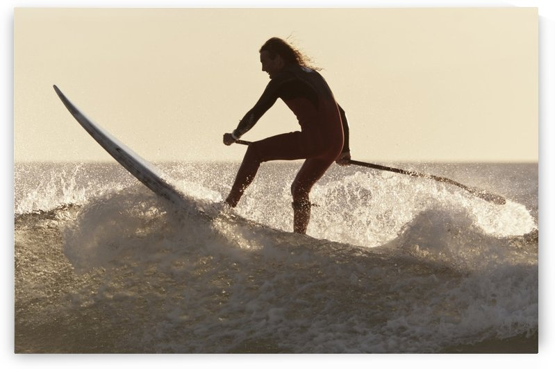 A Surfer Paddling On A Surfboard Off Benavides Beach; Tarifa Costa De La Luz Cadiz Andalusia Spain by PacificStock