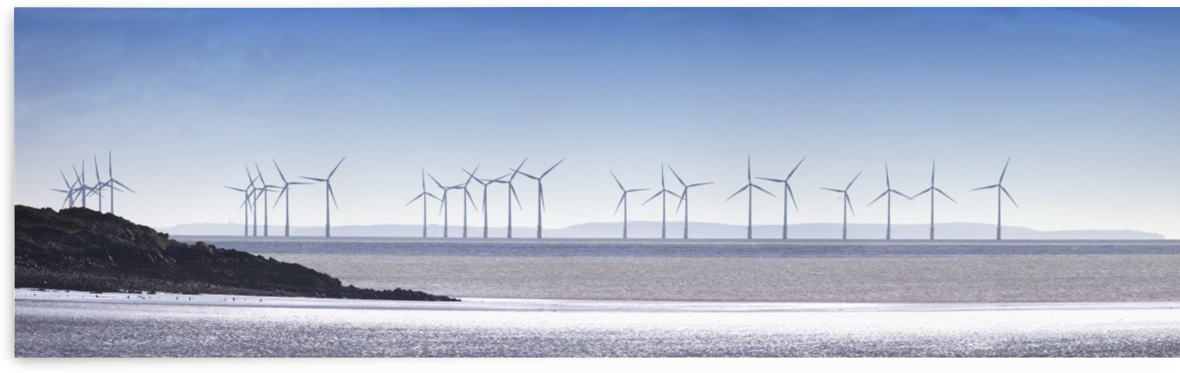 Wind Turbines Along The Coast; Solway Firth Dumfries Scotland by PacificStock