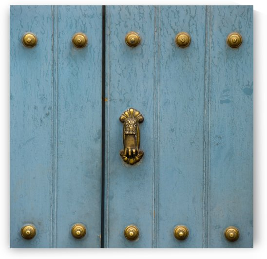 A Blue Door With Brass Decorative Knobs; Cusco, Peru by PacificStock