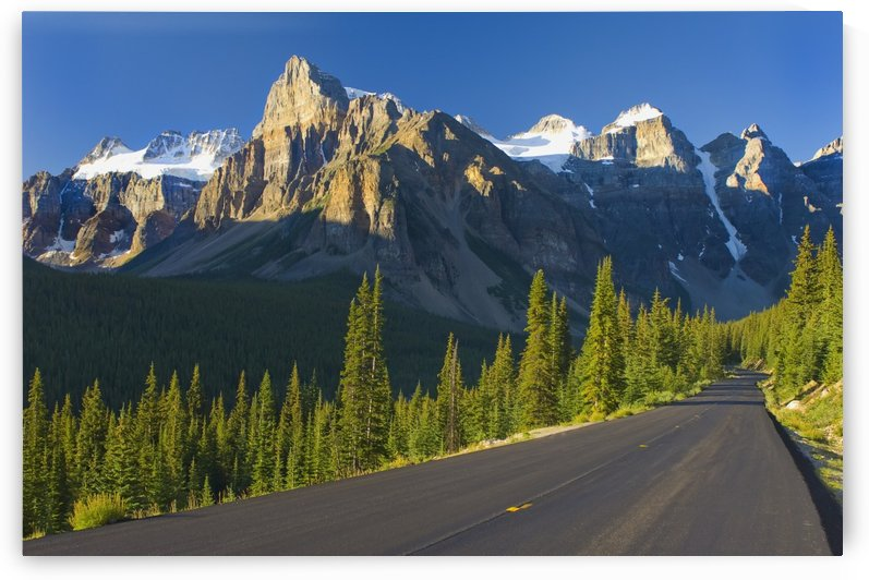 View Of Glacial Mountains And Trees Along The Road To Lake Moraine In Banff National Park; Alberta Canada by PacificStock