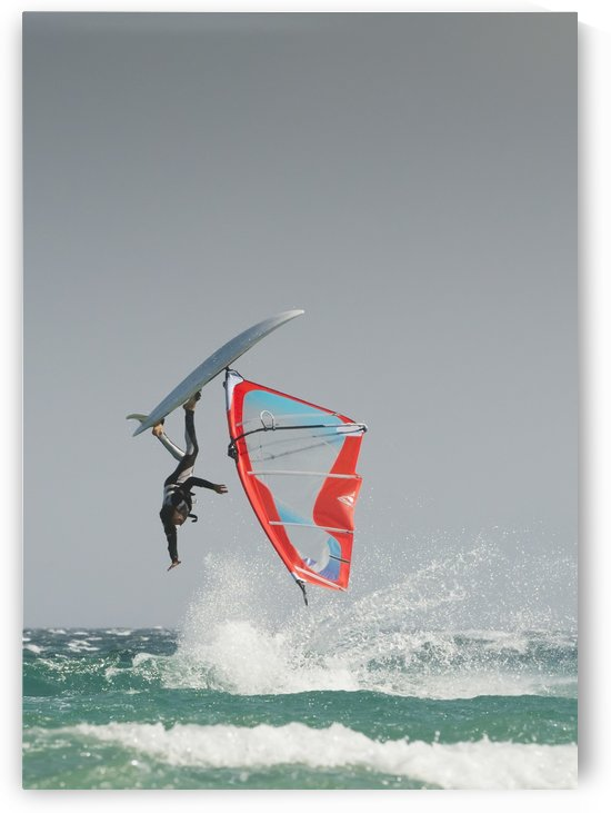 A Windsurfer Flips Upside Down On The Water Off Valdevaqueros Beach; Tarifa, Cadiz, Andalusia, Spain by PacificStock