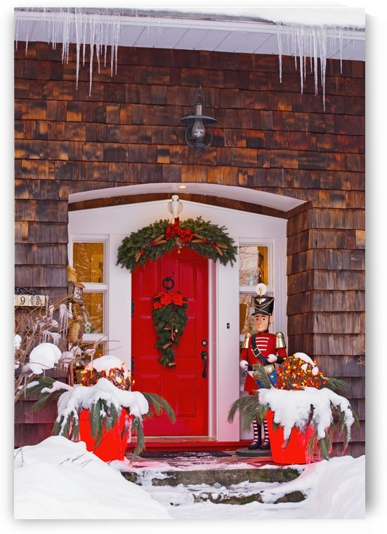 Christmas Decorations Around A Front Door; Knowlton, Quebec, Canada by PacificStock