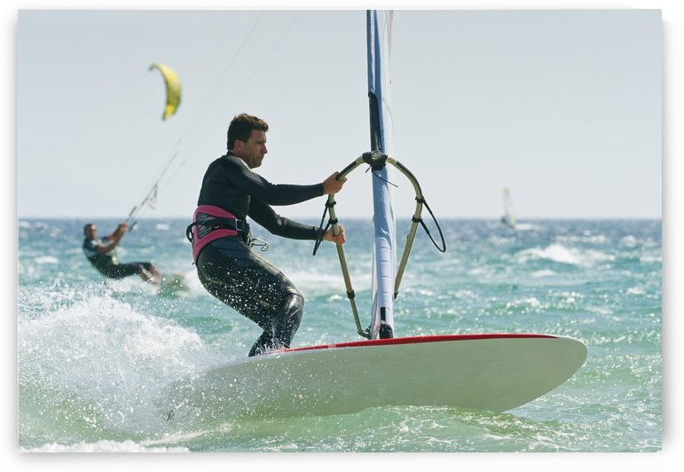 Windsurfers In The Water Off Punta Paloma; Tarifa, Cadiz, Andalusia, Spain by PacificStock