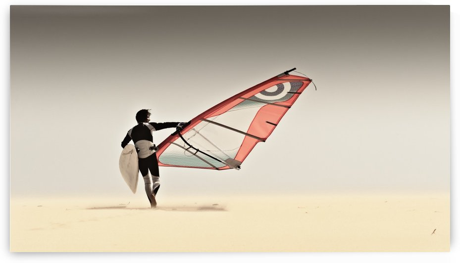 A Windsurfer Runs On The Sand Of Punta Paloma Beach With His Board; Tarifa, Cadiz, Andalusia, Spain by PacificStock