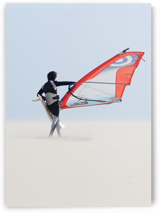 A Windsurfer Walks On The Sand Of Punta Paloma Beach With His Board; Tarifa, Cadiz, Andalusia, Spain by PacificStock