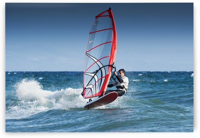 Windsurfing Off The Coast At Hotel Dos Mares; Tarifa, Cadiz, Andalusia, Spain by PacificStock