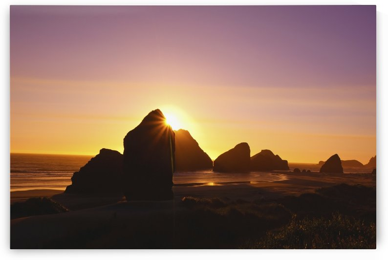 Sunset Behind Rock Formations At Cape Sebastian State Park; Oregon, United States of America by PacificStock