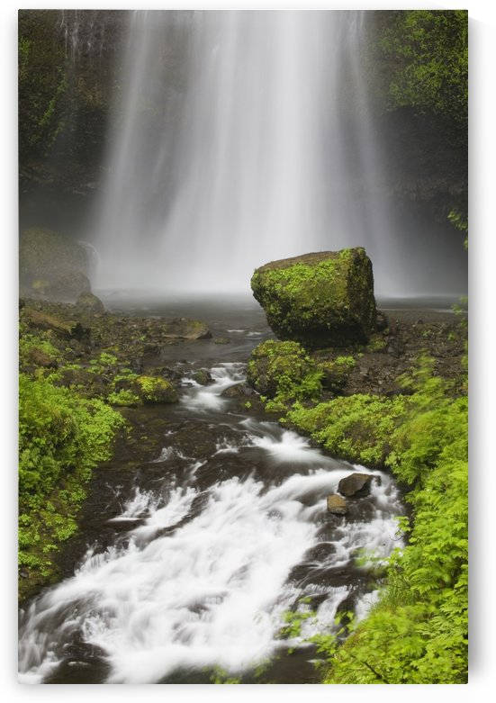 Lower Section Of Multnomah Falls With Moss Covered Rock; Oregon, United States of America by PacificStock