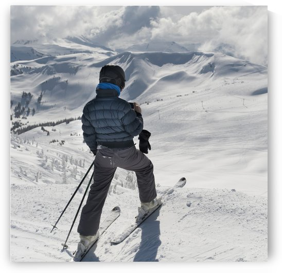 A Skier Pauses On The Trail To Look Out Over The Mountains; Whistler, British Columbia, Canada by PacificStock