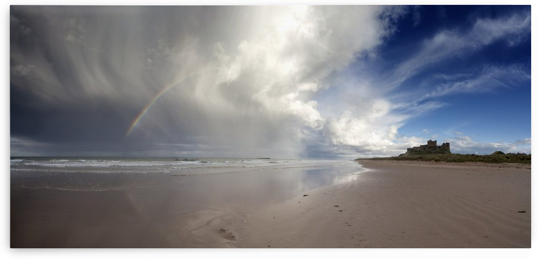 Clouds Reflected In The Shallow Water On A Beach; Northumberland, England by PacificStock