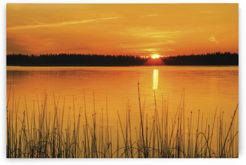 Sunset On Anglin Lake In Prince Albert National Park; Saskatchewan, Canada by PacificStock