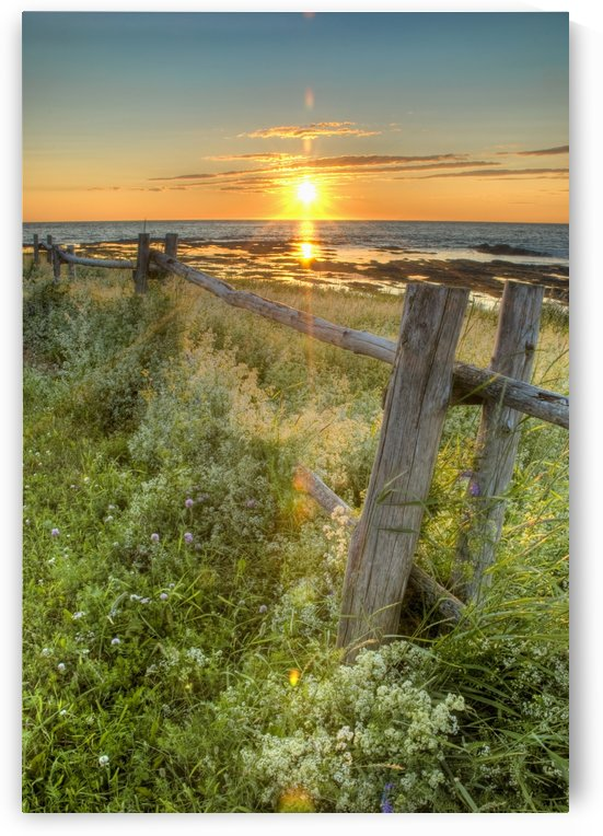 Sunset Over Water And A Fence Along The Shoreline; La Martre, Quebec, Canada by PacificStock