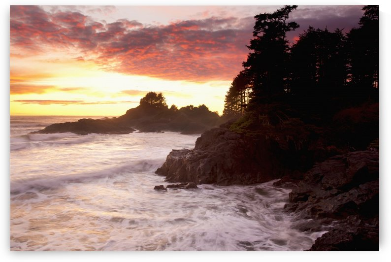 Waves At Cox Bay And Sunset Point At Sunset Near Tofino; British Columbia, Canada by PacificStock