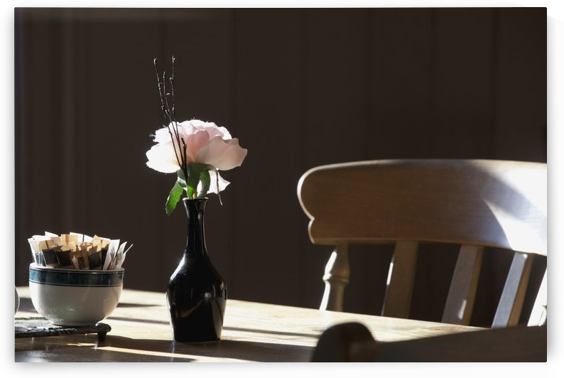 A Single Rose Sits In A Small Vase On A Restaurant Table; Northumberland, England by PacificStock