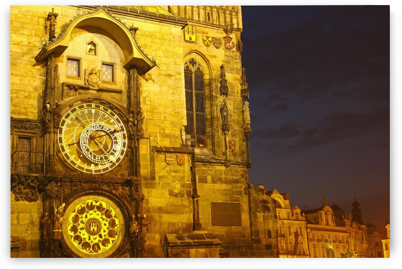 Night Lights Of The Astronomical Clock On The Old Town Hall In The Old Town Square Or Stare Mesto; Prague, Czech Republic by PacificStock