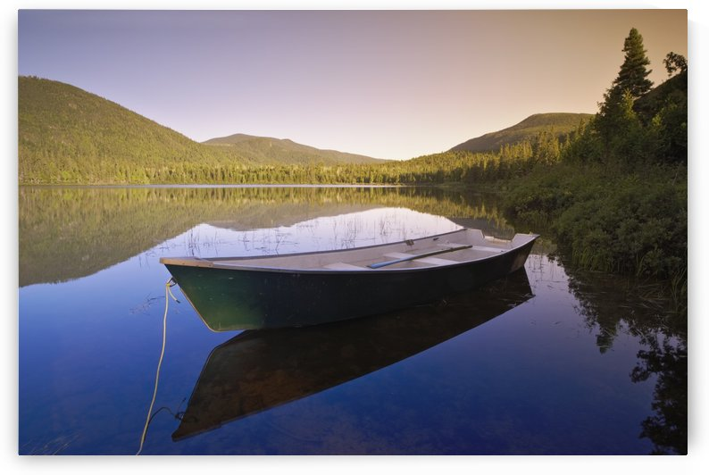 View Of Boat At Lebreux Lake At Sunset, Quebec by PacificStock