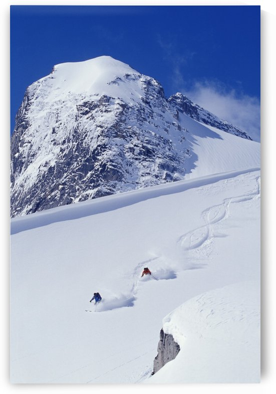 Two Young Men Skiing Untracked Powder In Figure 8's, Bugaboo Glacier Provincial Park, British Columbia, Canada by PacificStock