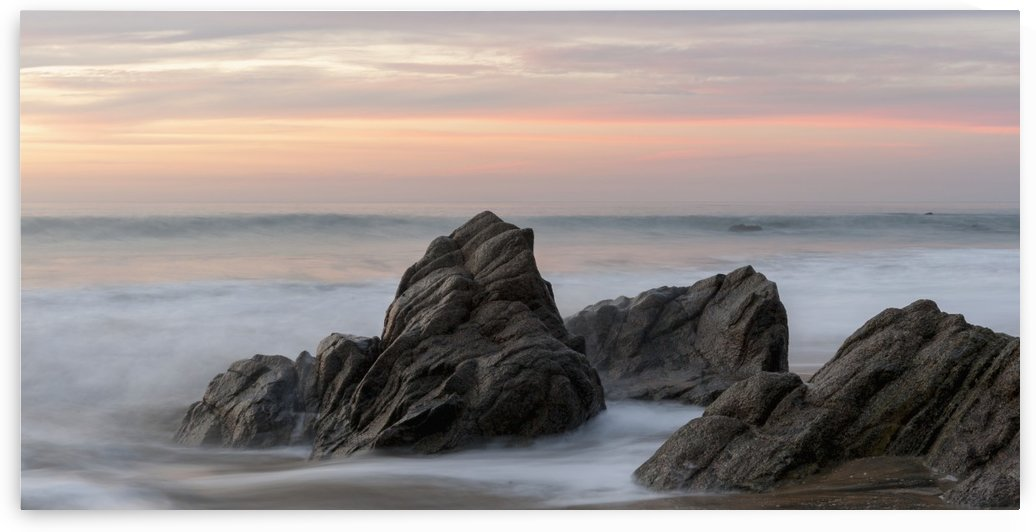 Mist Surrounding Rocks In The Ocean At The Coast At Sunset; Sayulita, Mexico by PacificStock